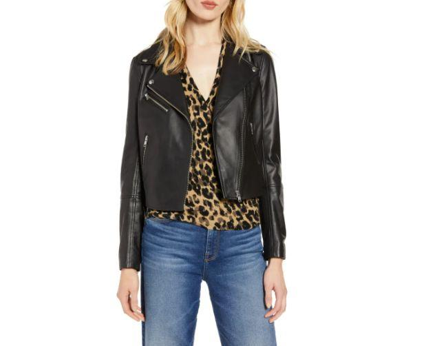 """This <a href=""""https://fave.co/2HroXDU"""" target=""""_blank"""" rel=""""noopener noreferrer"""">HalogenLeather Moto Jacket</a>is available in sizes XS to XL. Find it <a href=""""https://fave.co/2HroXDU"""" target=""""_blank"""" rel=""""noopener noreferrer"""">on sale for $180</a> (normally $300) at Nordstorm."""