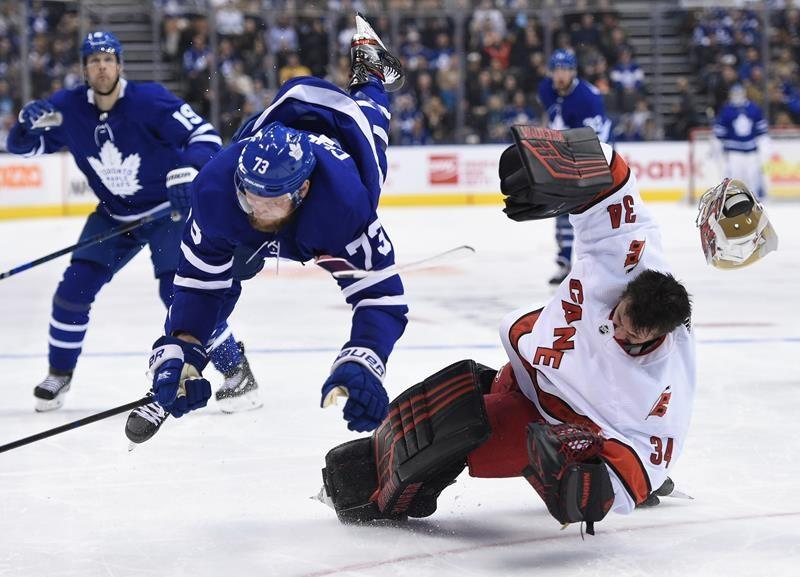 Emergency goalie David Ayres helps Hurricanes pick up improbable win over Leafs