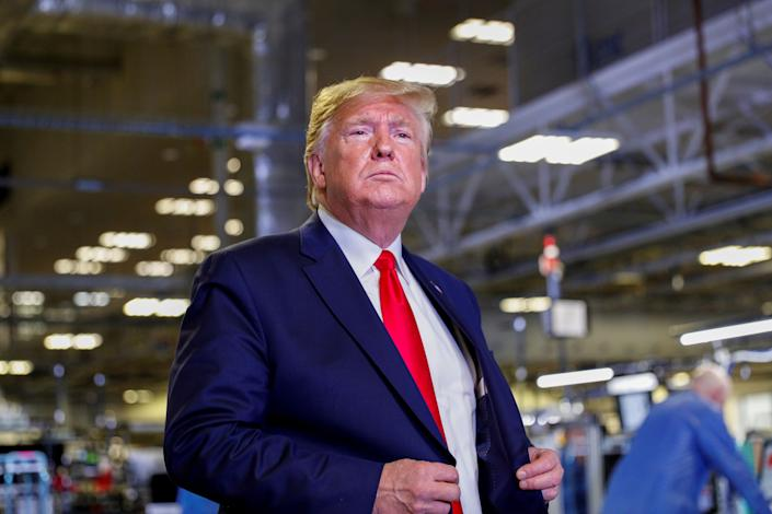 President Donald Trump is seen during a tour of Apple's Mac Pro manufacturing plant in Austin, Texas, on Wednesday. (Photo: Tom Brenner / Reuters)