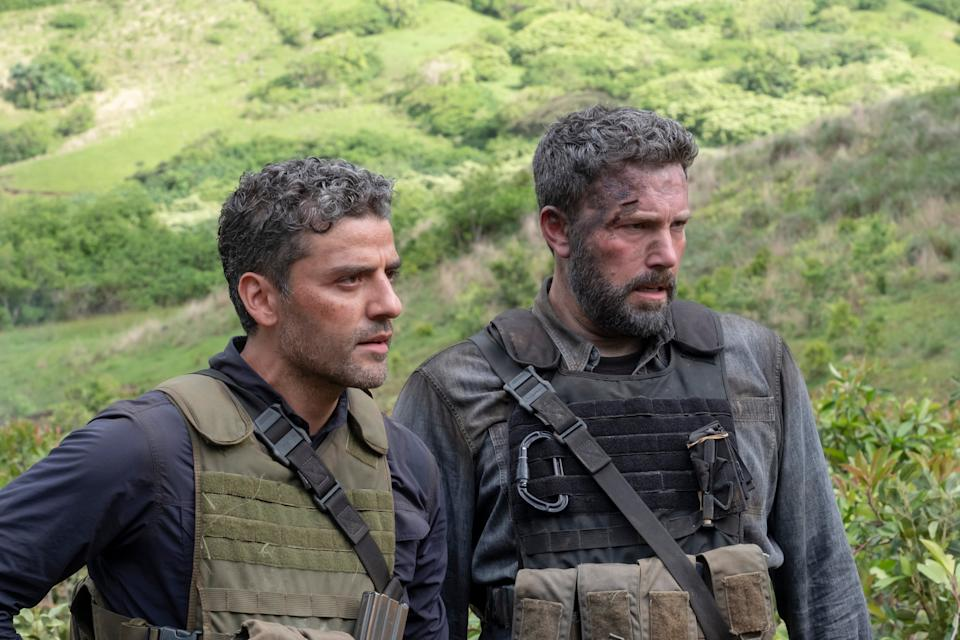 "<h3><strong><em>Triple Frontier</em></strong><br>March 15</h3><br><br><em>Triple Frontier </em>is based on a provocative premise. Five former Special Forces operatives (<a href=""https://www.refinery29.com/en-us/2018/03/194001/ben-affleck-tattoo-real-movie"" rel=""nofollow noopener"" target=""_blank"" data-ylk=""slk:Ben Affleck, Oscar Isaac, Charlie Hunnam, Garrett Hedlund, and Pedro Pascal"" class=""link rapid-noclick-resp"">Ben Affleck, Oscar Isaac, Charlie Hunnam, Garrett Hedlund, and Pedro Pascal</a>) reunite dangerous mission — this time, though, they plan to benefit directly. The group is going to rob a cartel. Not on a mission for United States, but for themselves (and their bank accounts). As <em>Narcos </em>shows, Netflix is good at cartel-related content that also stars Pedro Pascal, so we're<a href=""https://deadline.com/2018/12/triple-frontier-trailer-ben-affleck-oscar-isaac-charlie-hunnam-jc-chandor-mark-boal-netflix-1202516839/"" rel=""nofollow noopener"" target=""_blank"" data-ylk=""slk:hopeful for this heist thriller"" class=""link rapid-noclick-resp""> hopeful for this heist thriller</a>."