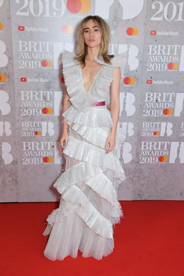 <p>The model chose a ruffled dress finished with Tiffany & Co jewels for the red carpet event. <em>[Photo: Getty]</em> </p>