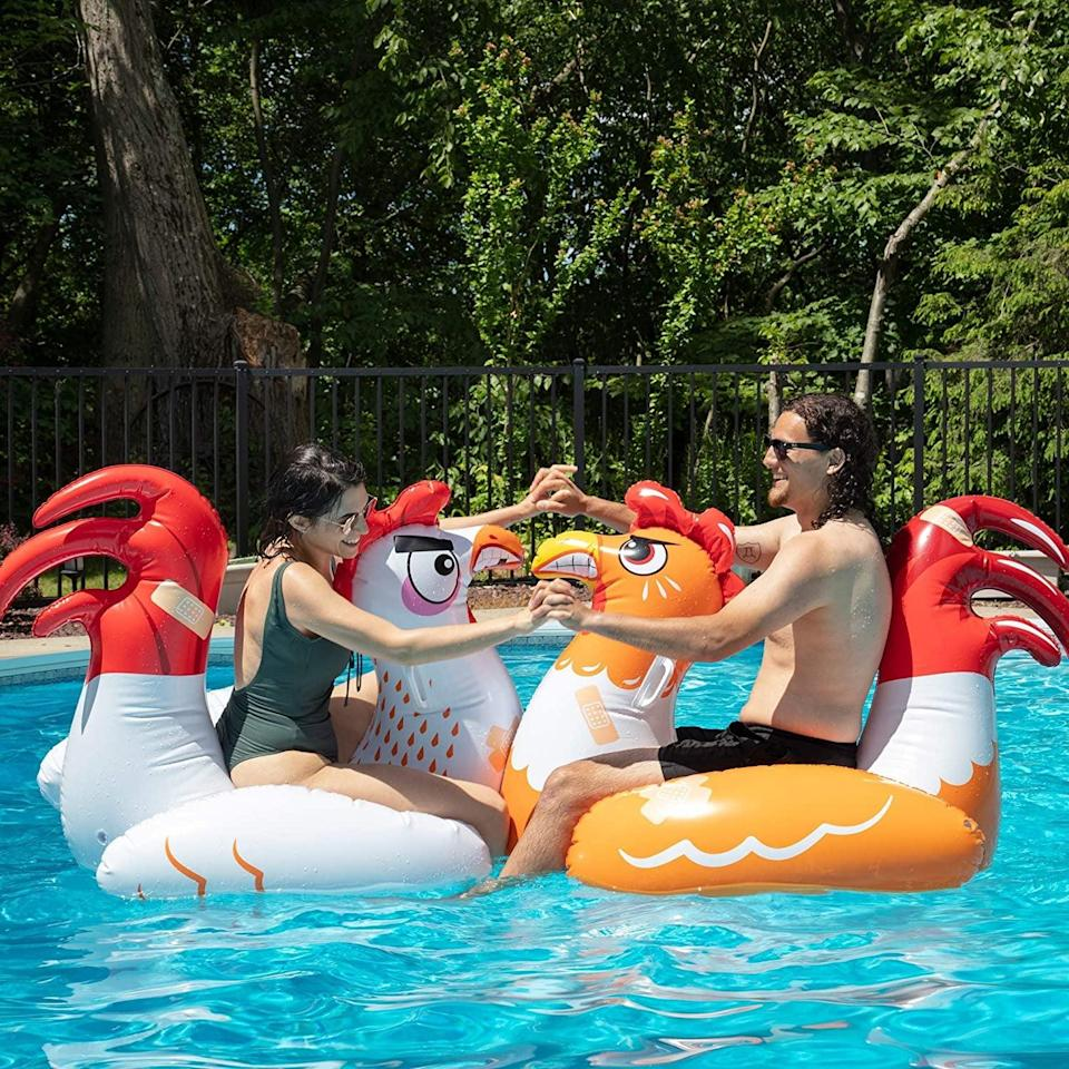 <p>This <span>SCS Direct Chicken Fight Inflatable Pool Float Game Set</span> ($60) looks like so much fun.</p>