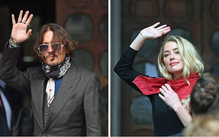Johnny Depp and Amber Heard arriving at the High Court in London - Victoria Jones/PA