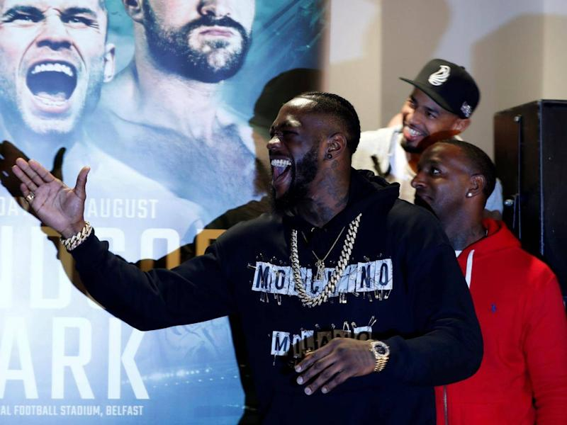 Deontay Wilder crashed Tyson Fury's weigh-in in Belfast (Reuters)