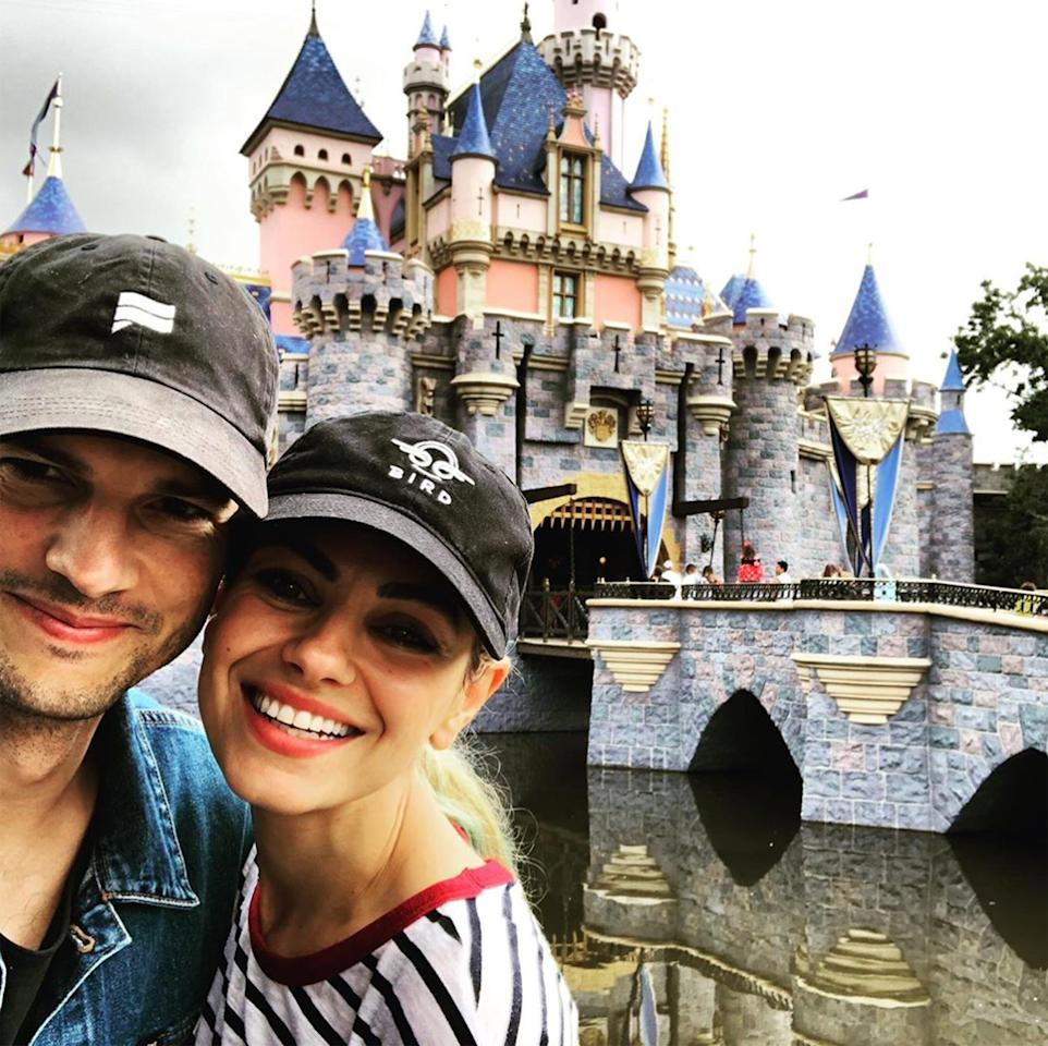 """Kutcher shared a cute selfie of the couple in front of Sleeping Beauty's castle at Disneyland. """"Magical weekend @disneyland. An imagination tinderbox. That Walt guy had a vision,"""" he wrote alongside the smiling snap."""