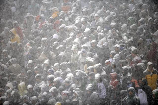 Fans are covered with snow during the first half of an NFL football game between the Philadelphia Eagles and the Detroit Lions, Sunday, Dec. 8, 2013, in Philadelphia. (AP Photo/Matt Rourke)