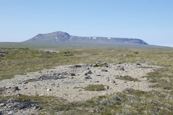 The Kima'Kho tuya forms a high relief structure covering 11 square miles (28 square kilometers), rising more than 6,300 feet (1,900 meters) above sea level on the Kawdy Plateau in British Columbia, Canada.