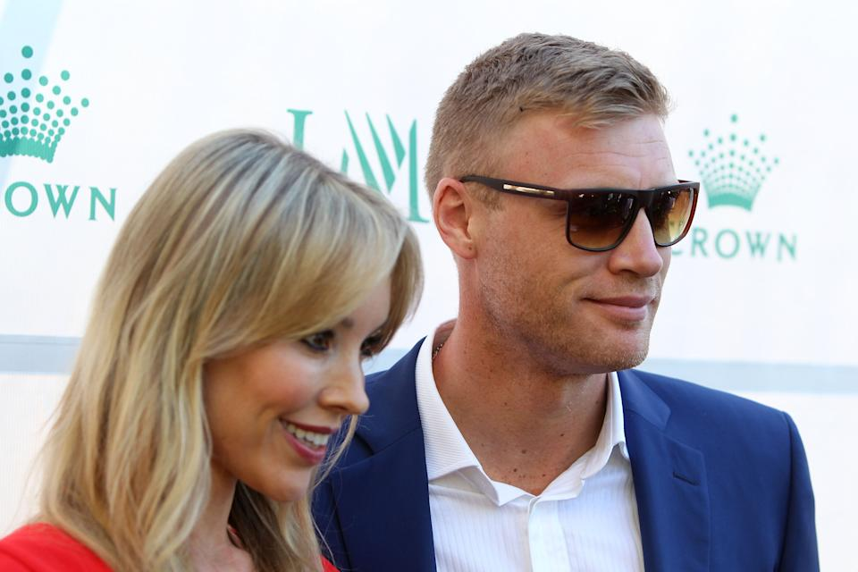 MELBOURNE, AUSTRALIA - JANUARY 17:  Freddie Flintoff (R) and Rachael Flintoff arrive at the 2016 Australian Open party at Crown Entertainment Complex on January 17, 2016 in Melbourne, Australia.  (Photo by Graham Denholm/Getty Images)