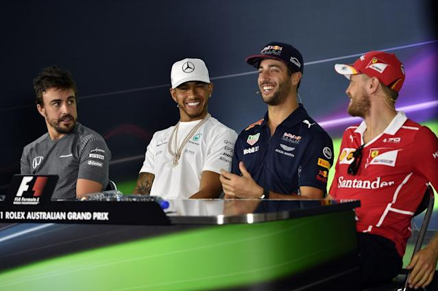 Fernando Alonso, Lewis Hamilton, Daniel Ricciardo and Sebatian Vettel are all on the grid in 2017: AFP/Getty Images