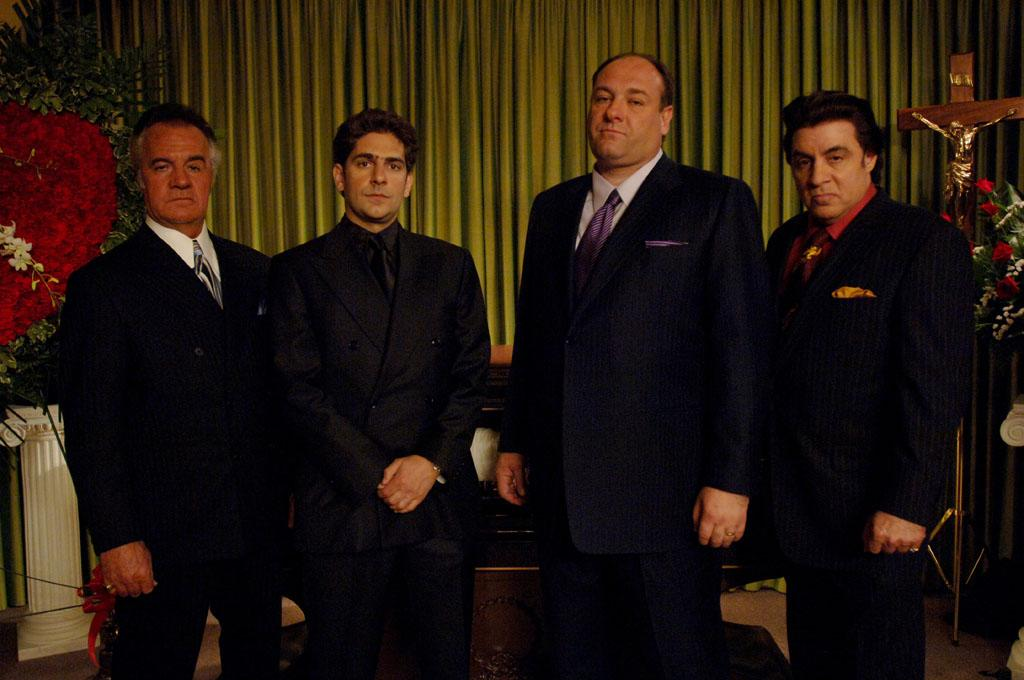 "Tony Sirico, Michael Imperioli, James Gandolfini, and Steven Van Zandt in HBO's ""The Sopranos."""