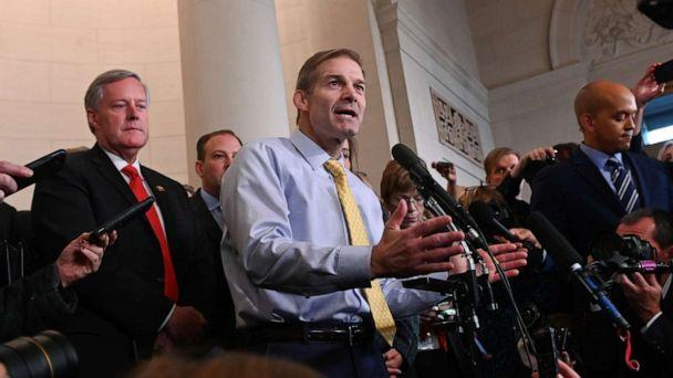 PHOTO: Rep. Jim Jordan speaks with reporters after a House Intelligence Committee impeachment inquiry hearing into President Donald Trump on Capitol Hill in Washington, Nov. 13, 2019. (Erin Scott/Reuters)
