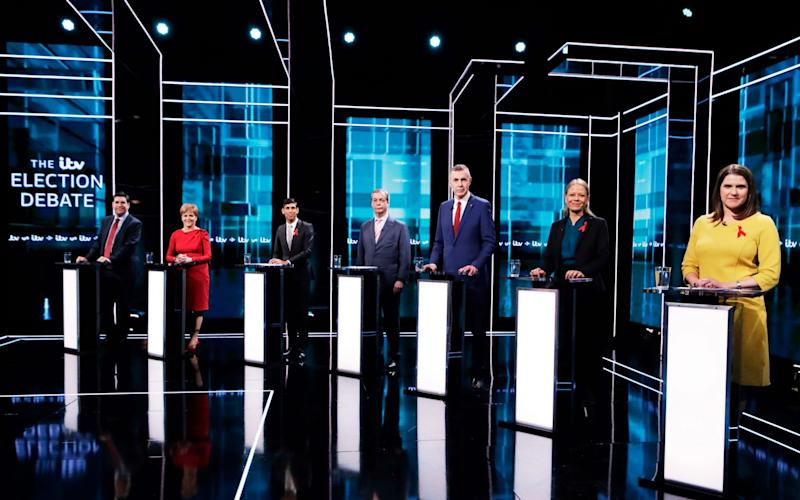 The seven participants from ITV's second general election TV debate - AFP