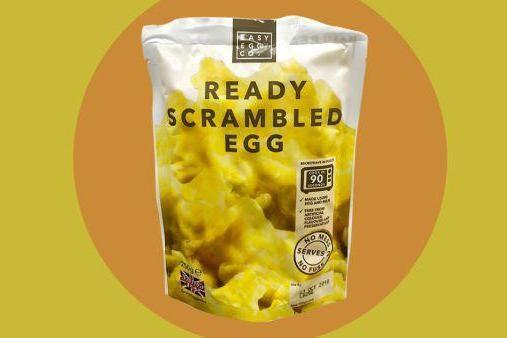The eggs are pre-made and sold in microwaveable pouches (Iceland)