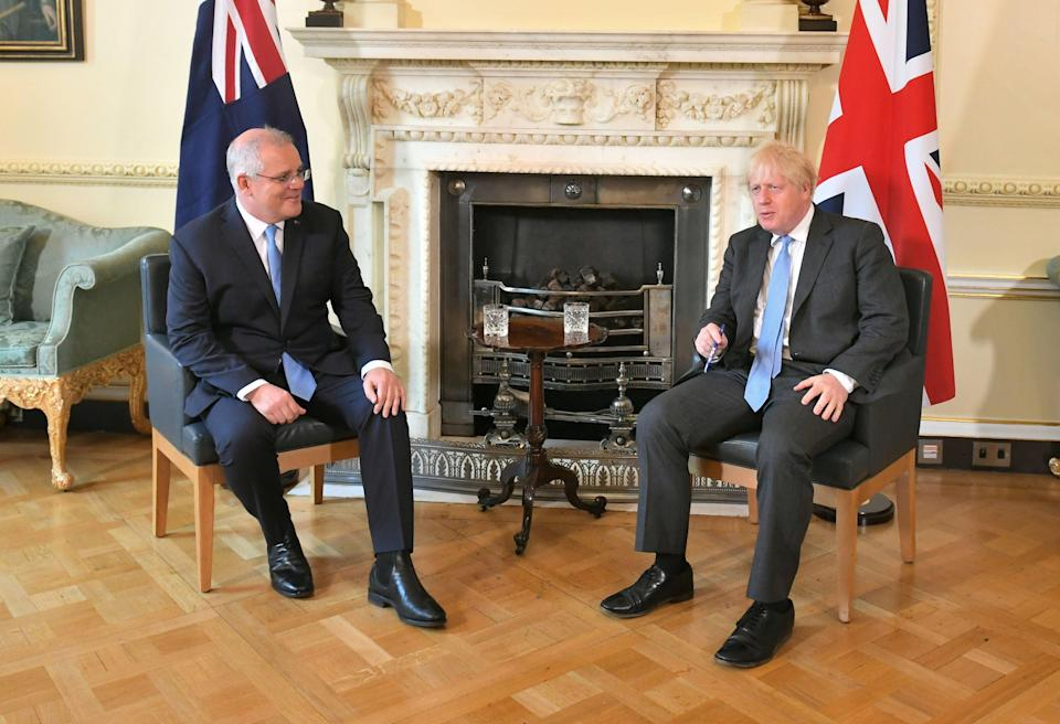 Scott Morrison and Boris Johnson at Downing St (Getty Images)