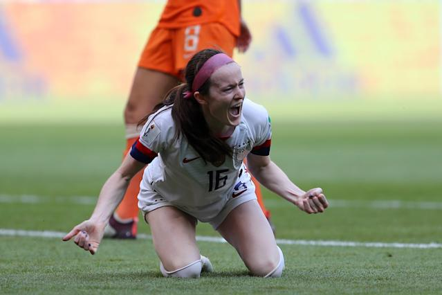 Rose Lavelle of the USA celebrates after scoring her team's second goal. (Credit: Getty Images)