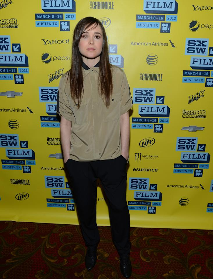"AUSTIN, TX - MARCH 16:  Actress Ellen Page attends the premiere of ""The East"" during the 2013 SXSW Music, Film + Interactive Festival at the Paramount Theatre on March 16, 2013 in Austin, Texas.  (Photo by Michael Buckner/Getty Images for SXSW)"