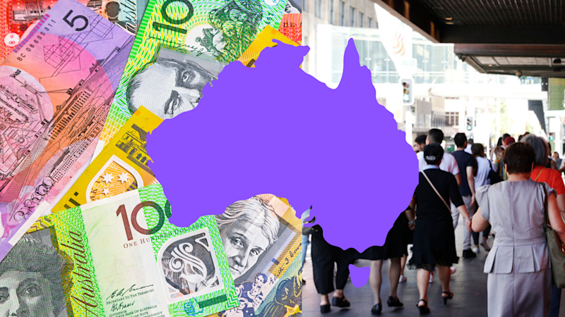 Pictured: Australian workers, map of Australia, Australian cash. Images: Getty
