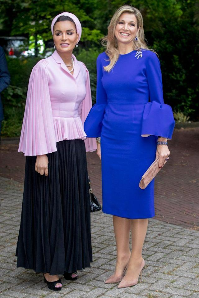 Sheikha Moza bint Nasser of Qatar and Queen Maxima of the Netherlands attend the Seminar on Protection and Education in Conflict Zones at the Hague Institute for Global Justice in the Hague, Netherlands, on Thursday. (Photo: Getty Images)