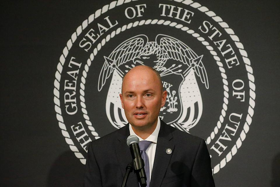 Utah Lt. Gov. Spencer Cox speaks during the daily briefing on the state's efforts to fight COVID-19, Thursday, June 25, 2020, at the Utah State Capitol, in Salt Lake City. (AP Photo/Rick Bowmer)