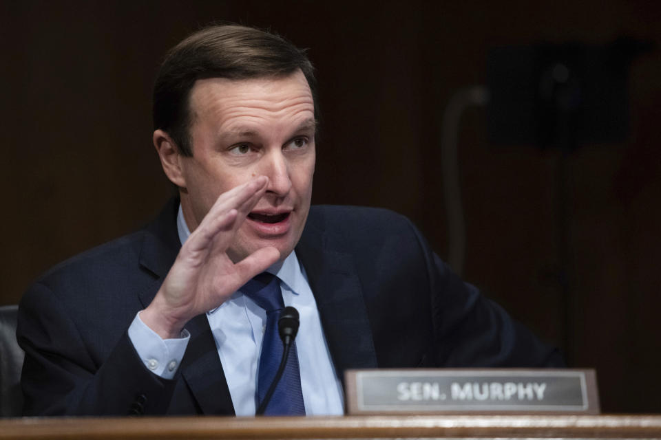 Sen. Chris Murphy, D-Conn., speaks during a Senate Health, Education, Labor and Pensions Committee hearing on the nomination Boston Mayor Marty Walsh to be labor secretary on Capitol Hill, Thursday, Feb. 4, 2021. (Graeme Jennings/Pool via AP)