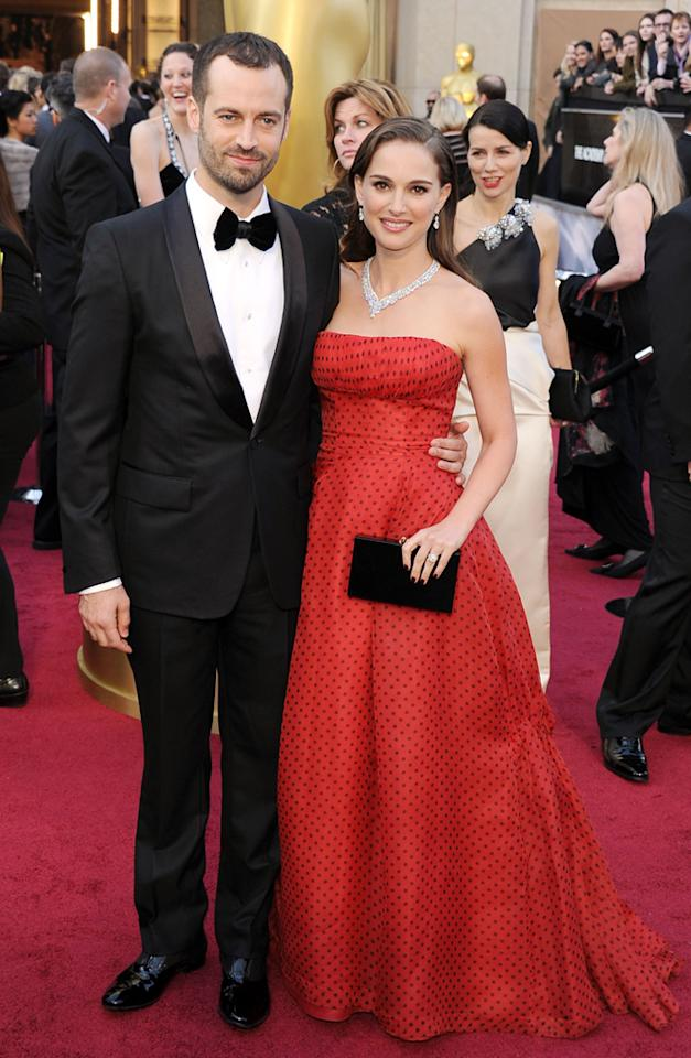 Natalie Portman and Benjamin Millepied arrive at the 84th Annual Academy Awards in Hollywood, CA.
