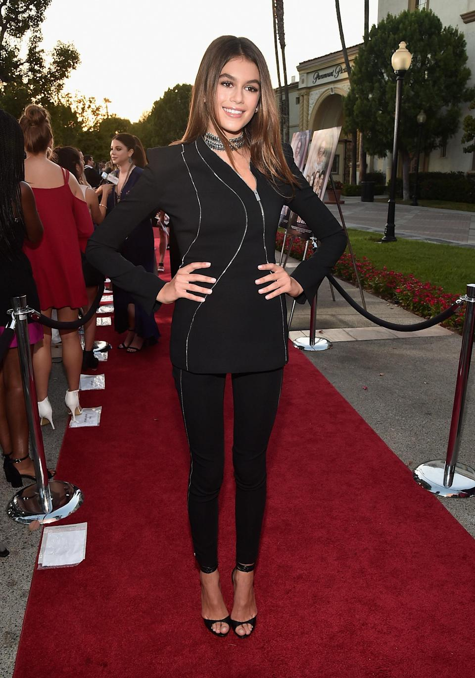 """Kaia went for a different take on the classic suit for the premiere of Lifetime's """"Sister Cities."""""""