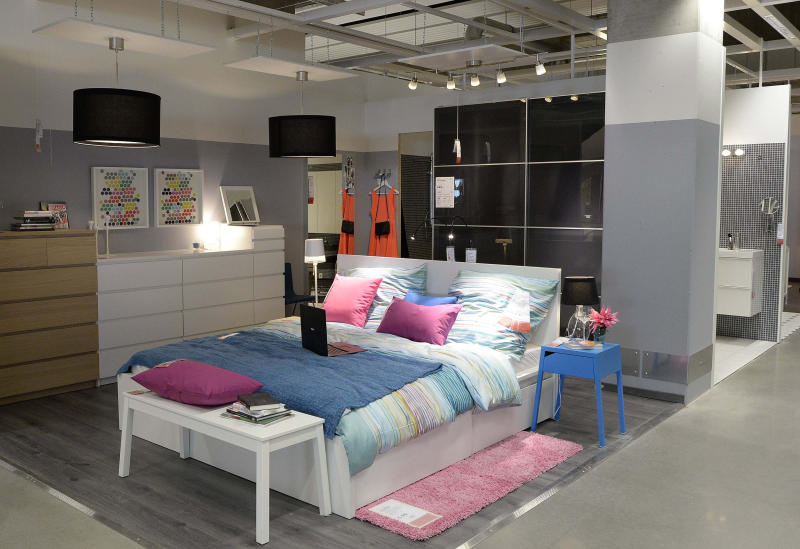 Image: A bedroom set up is pictured in IKEA's first city centre store in Hamburg