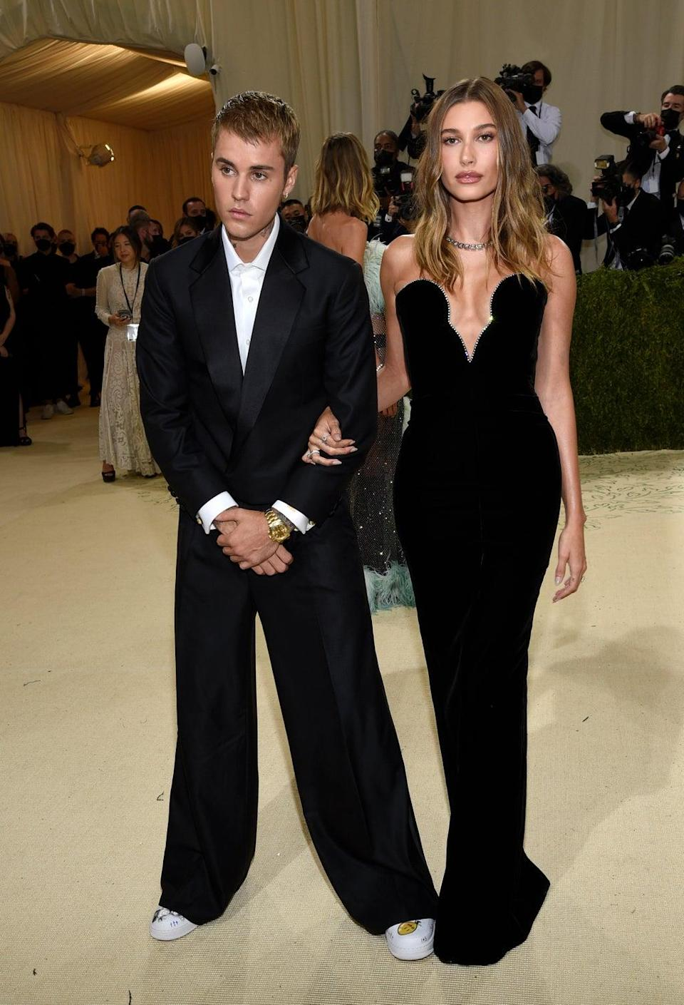 Justin and Hailey Bieber looked dapper in sophisticated outfits (Evan Agostini/Invision/AP) (AP)