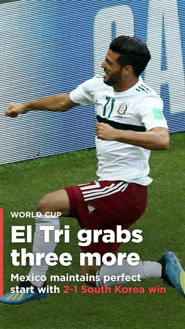 After defeating Germany, the highest-ranked team in Group F, 1-0 in its World Cup opener, Mexico also defeated the lowest-ranked team, South Korea, on Saturday, 2-1. El Tri's perfect start to the tournament makes it the favorite to win its group.