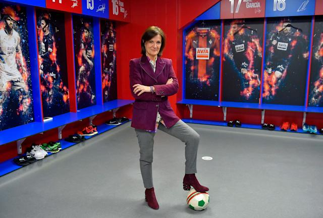 <p>Amaia Gorostiza, 51, businesswoman and president of the SD Eibar football club, poses for a picture in the locker room at the Ipurua stadium in Eibar, Spain on February 27, 2018. (Photo: Ander Gillenea/AFP/Getty Images) </p>