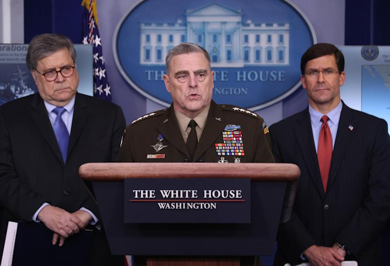 WASHINGTON, DC - APRIL 01: Chairman of the Joint Chiefs of Staff Gen. Mark Milley speaks about military operations during the daily White House coronavirus press briefing flanked by Attorney General William Barr (L) and Defense Secretary Mark Esper April 1, 2020 in Washington, DC. After announcing yesterday that COVID-19 could kill between 100,000 and 240,000 Americans, the Trump administration is also contending with the economic effects of the outbreak as the stock market continues to fall, businesses remain closed, and companies lay off and furlough employees. (Photo by Win McNamee/Getty Images)