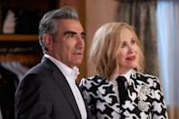 <p><strong>The nominees:</strong> <em>Curb Your Enthusiasm, Dead To Me, The Good Place, Insecure, The Kominsky Method, The Marvelous Mrs. Maisel, Schitt's Creek, What We Do In The Shadows</em></p><p><strong>Who will win:</strong> <em>Schitt's Creek</em></p><p><strong>Who should win:</strong><em> Schitt's Creek</em></p><p><strong>Why:</strong> Although there are a number of powerful contenders this year, no comedy series has enjoyed quite the acclaim or adoration as the once-sleeper hit <em>Schitt's Creek</em>. A spectacularly well-developed series with not a single bad episode, the Canadian riches-to-rags comedy made us fall in love with terrible people who slowly learn to change, and it deserves every award coming its way. </p>