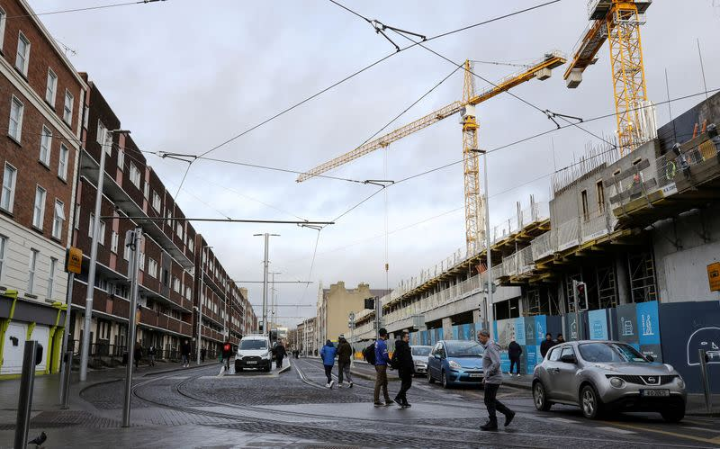 FILE PHOTO: A new development under construction on Dominick Street Lower, faces old council flats in Dublin