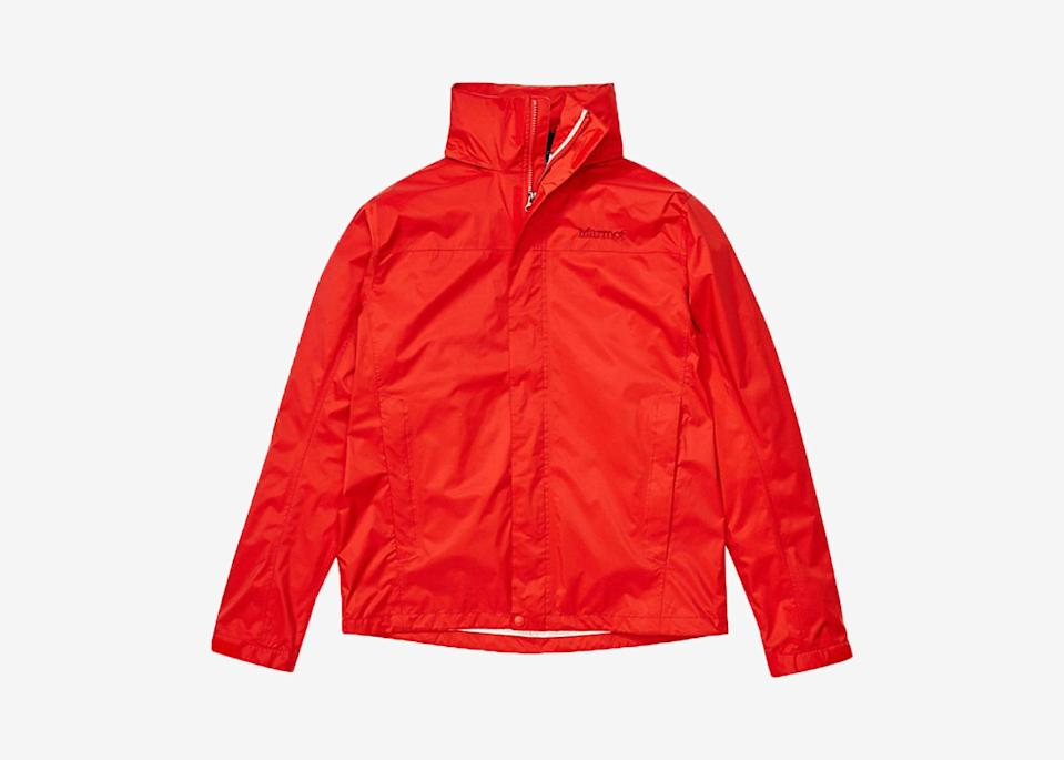 """<p>It's hard to predict when a rain shower will hit on a road trip, and if it coincides with a bathroom break or meal stop, you'll want to cover up to avoid a damp, unpleasant remainder of your ride. Keep a light rain jacket on hand, like Marmot's PreCip Eco Jacket, which folds into its own pocket for easy storage, whether you're tossing it in a tote or the seat-back pocket.</p> <p><strong>Buy now:</strong> <a href=""""https://fave.co/2N2OdjB"""" rel=""""nofollow noopener"""" target=""""_blank"""" data-ylk=""""slk:Men's sizes, from $60, backcountry.com"""" class=""""link rapid-noclick-resp"""">Men's sizes, from $60, backcountry.com</a><br> <strong>Buy now:</strong> <a href=""""https://fave.co/37xLEPV"""" rel=""""nofollow noopener"""" target=""""_blank"""" data-ylk=""""slk:Women's sizes, from $60, backcountry.com"""" class=""""link rapid-noclick-resp"""">Women's sizes, from $60, backcountry.com</a></p>"""