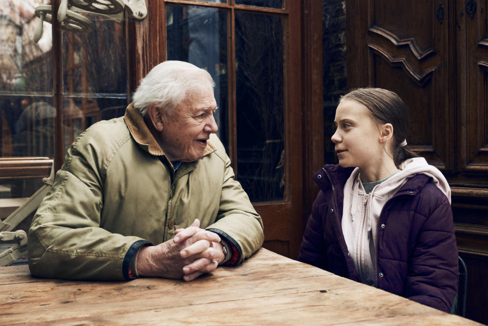 Sir David Attenborough with Greta Thunberg. (BBC Studios / PBS)