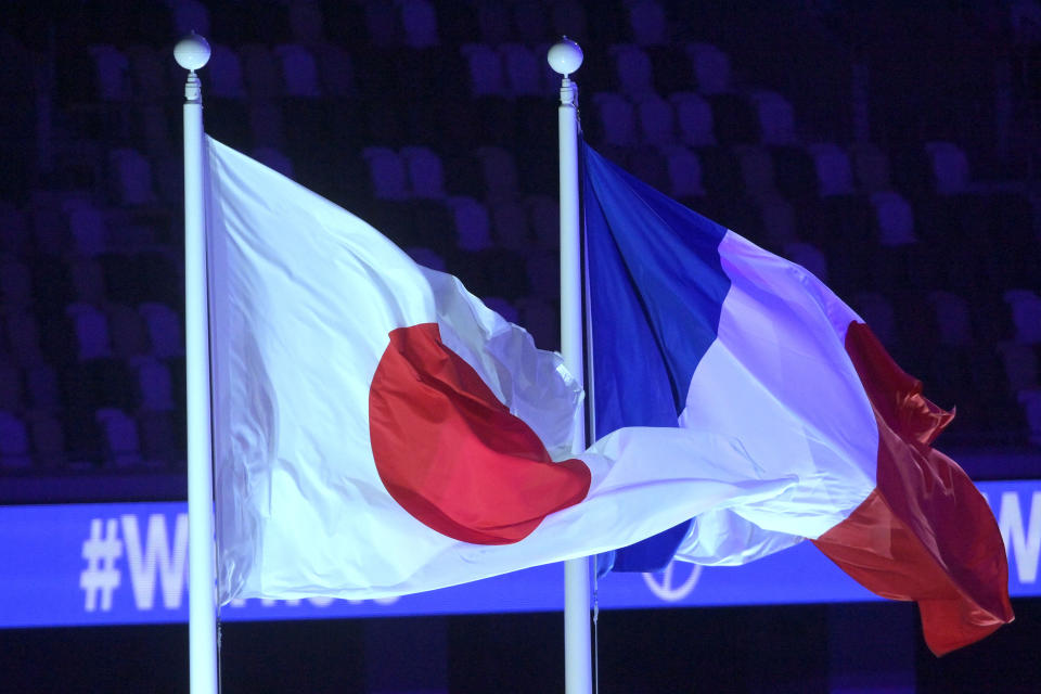TOKYO, JAPAN - SEPTEMBER 05: The national flags of France and Japan are seen during the Closing Ceremony on day 12 of the Tokyo 2020 Paralympic Games at Olympic Stadium on September 05, 2021 in Tokyo, Japan. (Photo by Koki Nagahama/Getty Images)