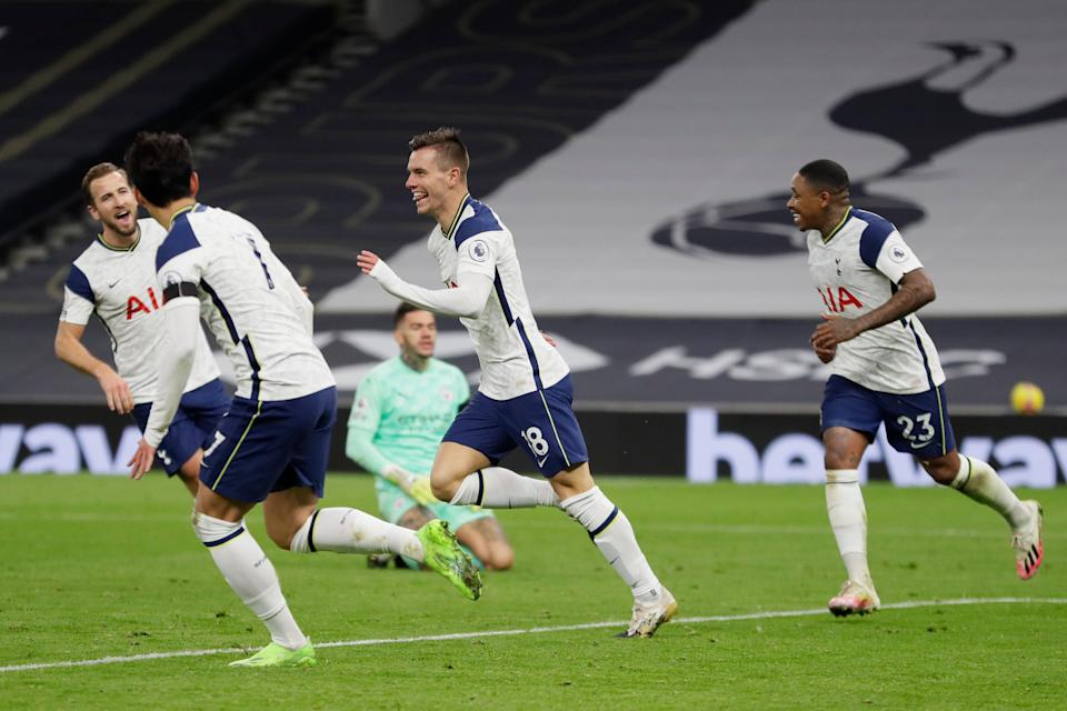 <p>Tottenham celebrate scoring</p> (AP)