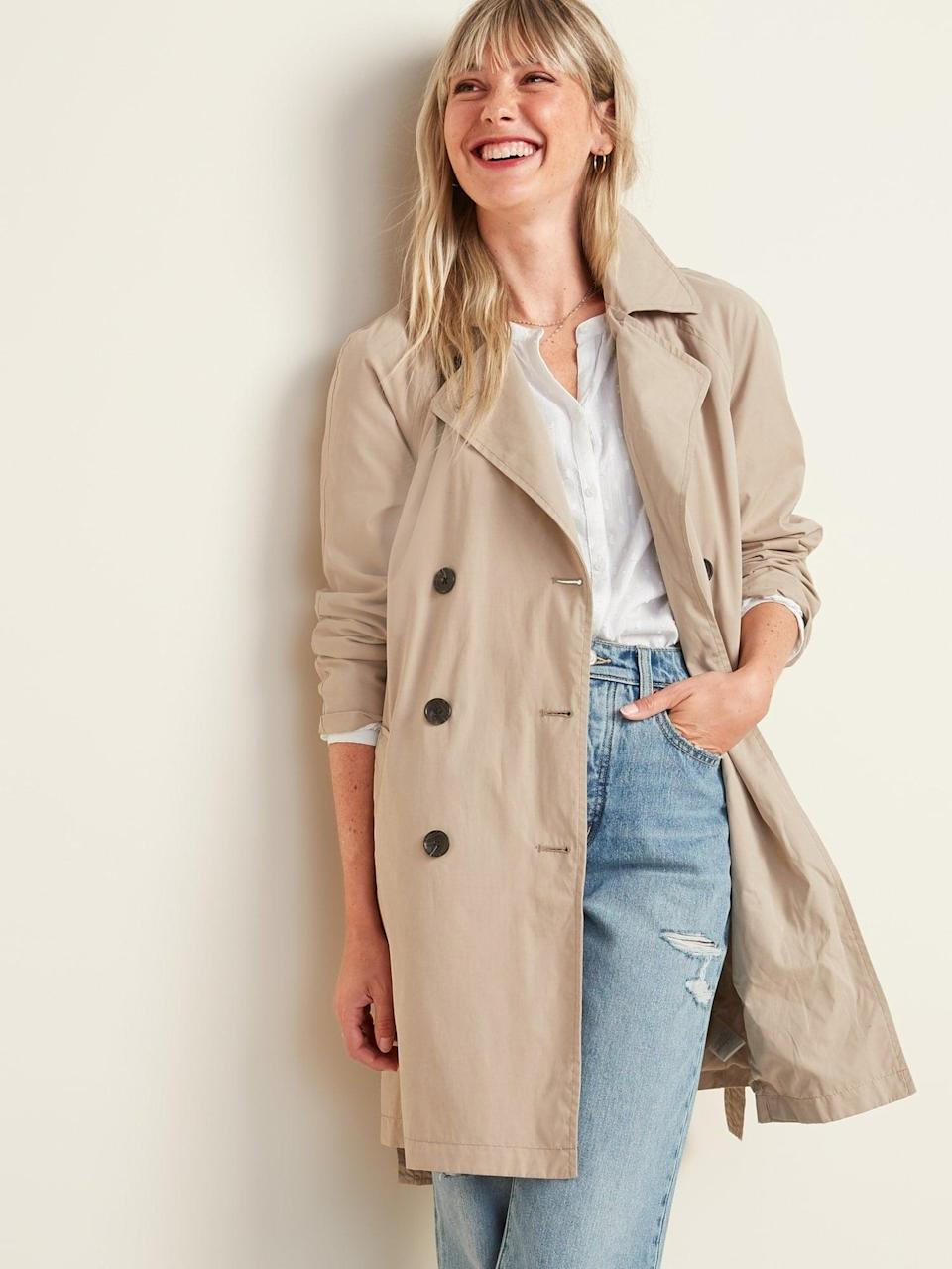 <p>Take on rainy days (or any day really) in style with this <span>Trench Coat</span> ($54, originally $60).</p>
