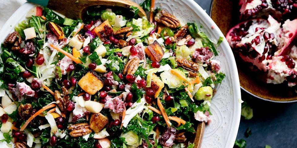 """<p>If you're serving a heavy dinner, you may want to keep your first course light. Start with a seasonal salad filled with nuts, fruits, and shredded veggies to get everyone excited for the meal to come. </p><p><strong><a href=""""https://www.thepioneerwoman.com/food-cooking/recipes/a104726/ultimate-winter-salad/"""" rel=""""nofollow noopener"""" target=""""_blank"""" data-ylk=""""slk:Get the recipe."""" class=""""link rapid-noclick-resp"""">Get the recipe.</a> </strong></p>"""