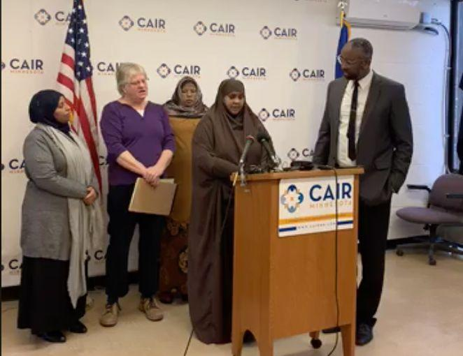 Halimo Sisse, mother of one of the victims, speaks at a press conference Wednesday during which the Minnesota chapter of the Council on American-Islamic Relations announced the settlement. (Photo: Facebook / CAIR)