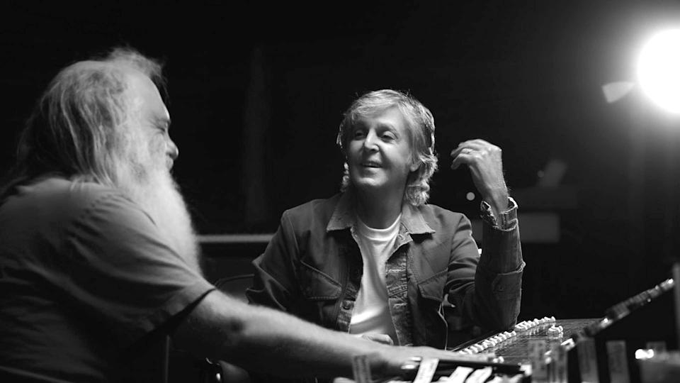 McCartney 3,2,1 -- Paul McCartney sits down for a rare, in-depth, one on one with legendary producer Rick Rubin to discuss his groundbreaking work with The Beatles, the emblematic 70s arena rock of Wings and his 50 years and counting as a solo artist. In this six-episode series that explores music and creativity in a unique and revelatory manner, join Paul and Rick for an intimate conversation about the songwriting, influences, and personal relationships that informed the iconic songs that have served as the soundtracks of our lives. Paul McCartney, Rick Rubin, shown. (Photo Courtesy of Hulu)