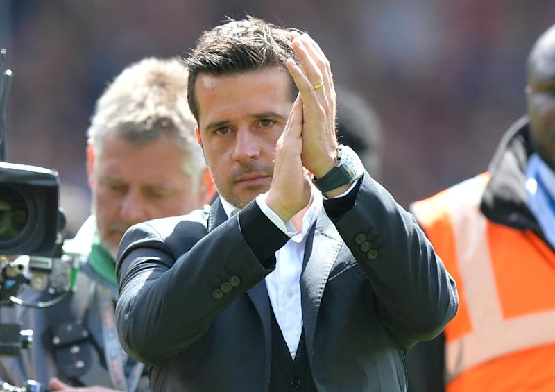 Hull City's manager Marco Silva applauds the team and fans after being relegated from the Premier League on May 14, 2017