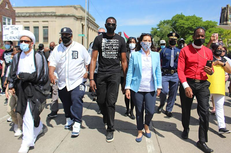 Gov. Gretchen Whitmer and Lt. Governor Garlin Gilchrist II participate in a march with clergy, community leaders, and local elected officials through Highland Park and Detroit on June 4, 2020. (Office of Gov. Gretchen Whitmer)