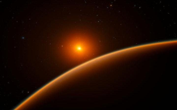 This artist's impression shows the exoplanet LHS 1140b, which orbits a red dwarf star 40 light-years from Earth - Credit: ESO/spaceengine.org
