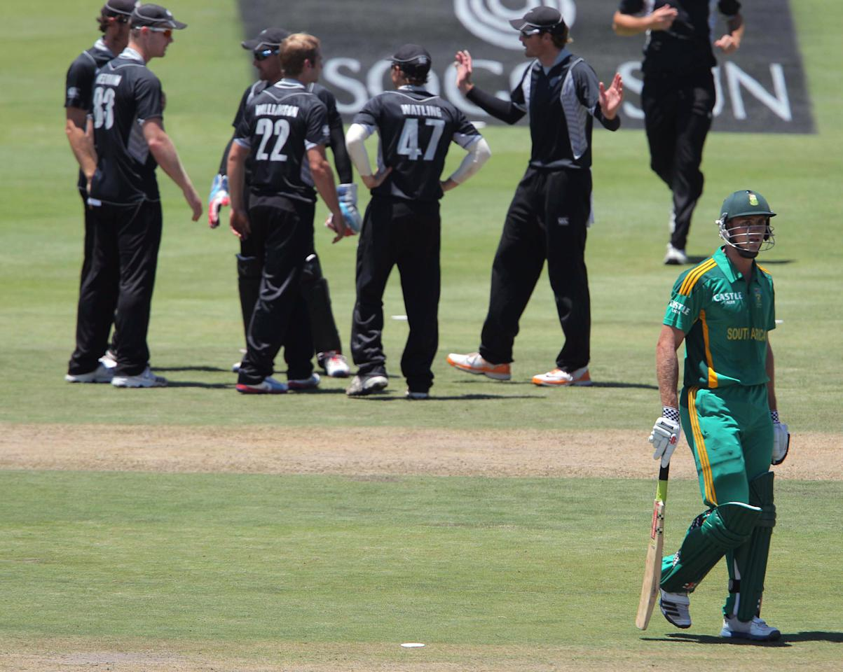 PAARL, SOUTH AFRICA - JANUARY 19: Ryan McLaren from the Proteas walking off with New Zealand celebrating his wicket during the 1st One Day International match between South Africa and New Zealand at Boland Park on January 19, 2013 in Paarl, South Africa. (Photo by Carl Fourie/Gallo Images/Getty Images)