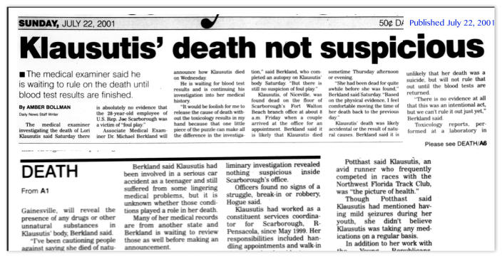Headline from the Northwest Florida Daily News on July 22, 2001.