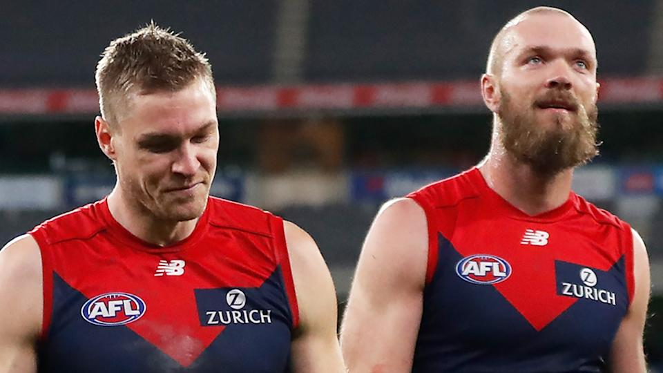 The Melbourne Demons flew to Brisbane on Saturday morning, only to earn their game against the Gold Coast would need to be re-scheduled when they landed. (Photo by Michael Willson/AFL Photos via Getty Images)
