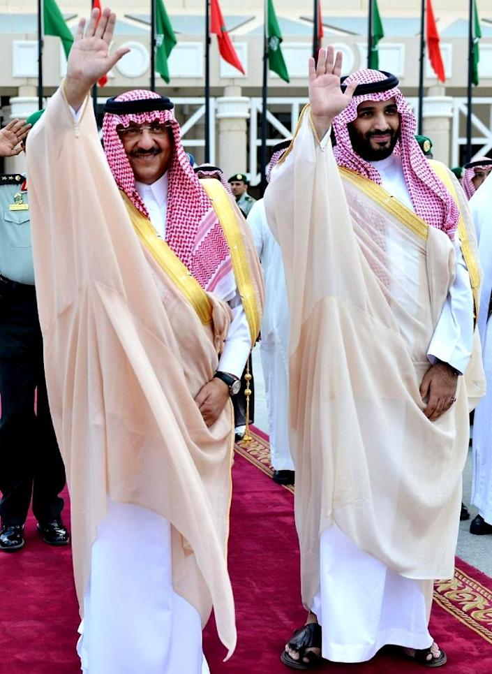 Saudi Crown Prince and Interior Minister Mohammed bin Nayef (L) and Deputy Crown Prince and Defence Minister Prince Mohammed bin Salman have stayed silent about Russia's intervention in Syria (AFP Photo/)