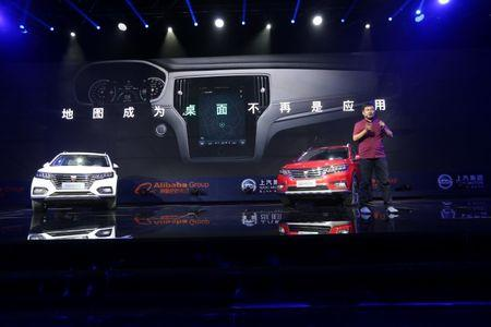 Alibaba's internet-connected cars are seen introduced at a launch event in Hangzhou, Zhejiang province, China, July 6, 2016. China Daily/via REUTERS