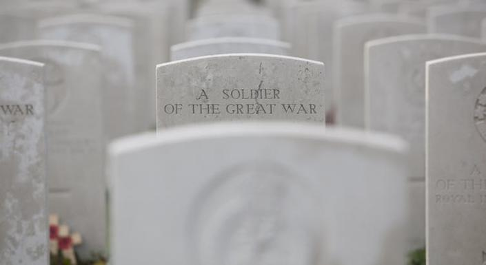 """<span class=""""caption"""">Tyne Cot Cemetery in Belgium is the largest Commonwealth War Graves Commission cemetery in the world and is the resting place of more than 11,900 servicemen of the British Empire from WWI.</span> <span class=""""attribution""""><a class=""""link rapid-noclick-resp"""" href=""""https://www.shutterstock.com/image-photo/soldier-great-war-tyne-cot-belgium-165207269?src=d9f8a3dc-621e-4beb-8560-67308aa67c2e-2-76"""" rel=""""nofollow noopener"""" target=""""_blank"""" data-ylk=""""slk:Shutterstock/Wim Demortier"""">Shutterstock/Wim Demortier</a></span>"""
